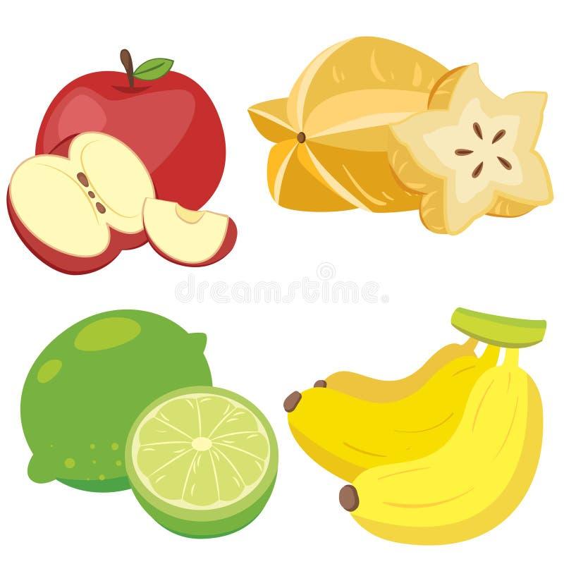 Gullig frukt collection01 stock illustrationer