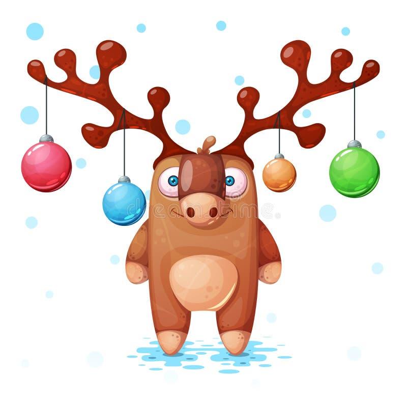 Gullig, galen gullig derrillustration lyckligt nytt år Flingor snö, boll vektor illustrationer