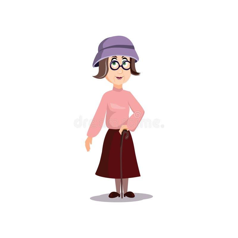 Gullig gammal farmor med den violetta gå pinnen för hatt och för trä stock illustrationer