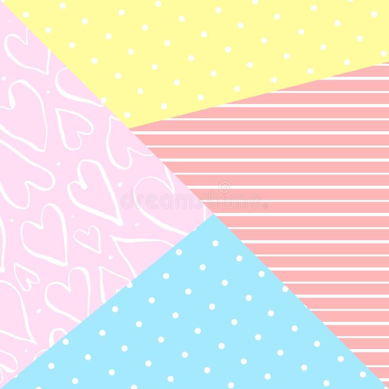 Gullig geometrisk bakgrund för vektor med dekorbeståndsdelar royaltyfri illustrationer