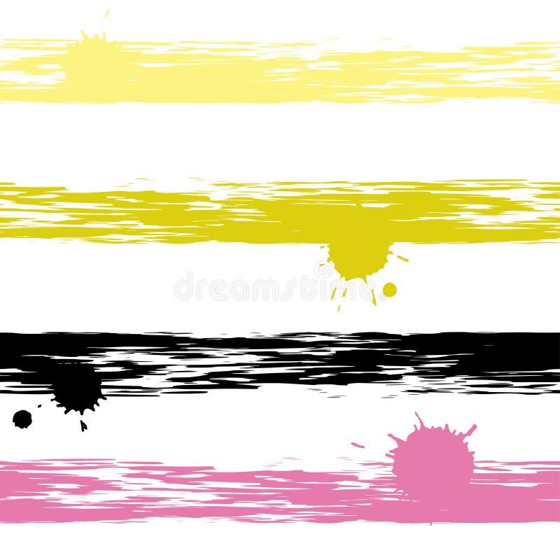 Gullig geometrisk sömlös modell Borsteslaglängder och färgpulverfläckar Hand dragen grungetextur abstrakt datalistor Ändlös textu royaltyfri illustrationer