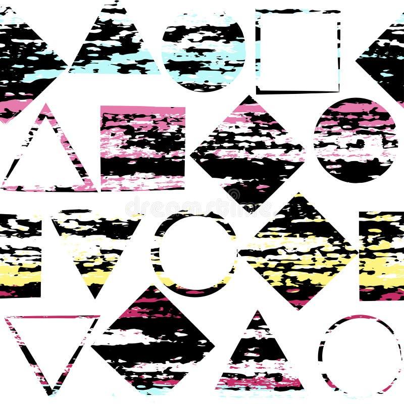 Gullig geometrisk sömlös modell Borsteslaglängder, trianglar, cirklar och kvadrerar Hand dragen grungetextur abstrakt datalistor stock illustrationer