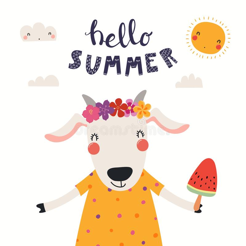 Gullig get i sommar stock illustrationer