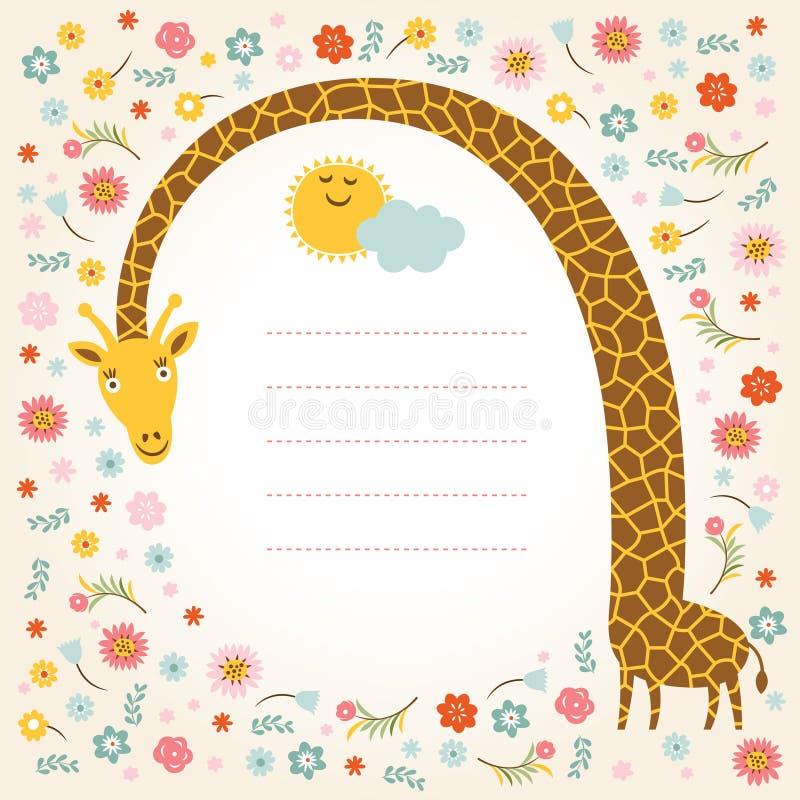 Gullig giraff royaltyfri illustrationer