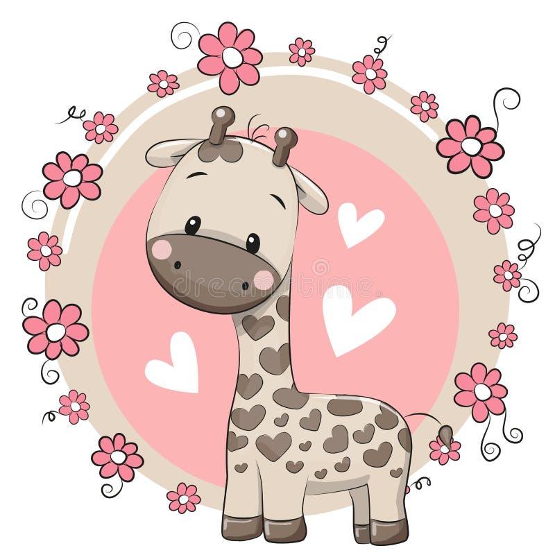 gullig giraff för tecknad film royaltyfri illustrationer
