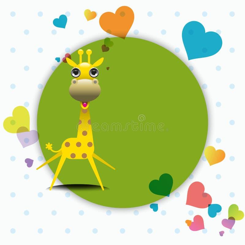 Gullig giraff med förälskelsehälsningkortet. royaltyfri illustrationer