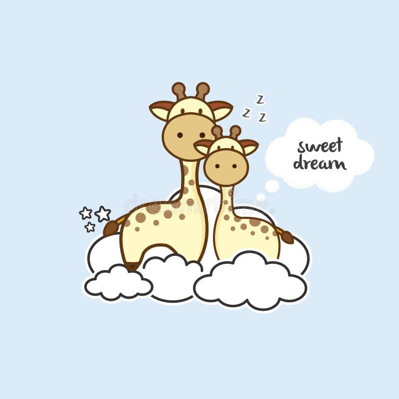Gullig giraff som sitter på molnen stock illustrationer
