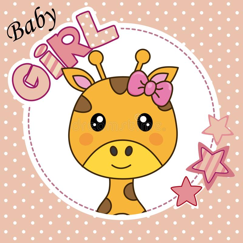 Gullig giraffflicka stock illustrationer