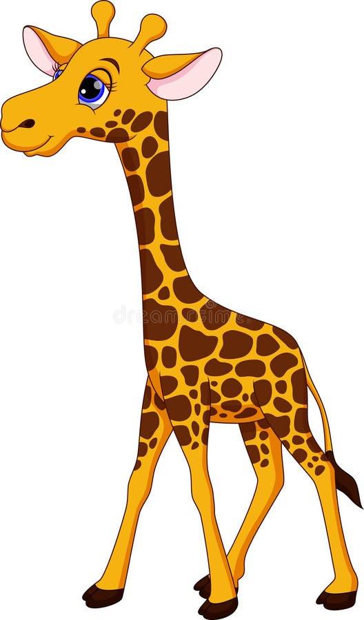 Gullig girafftecknad film stock illustrationer