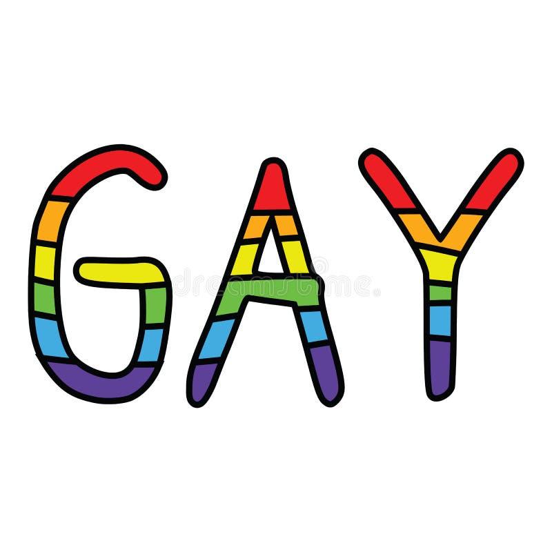 Gullig glad uppsättning för motiv för typografitecknad filmillustration Utdragen isolerad LGBTQ beståndsdelclipart för hand för s vektor illustrationer