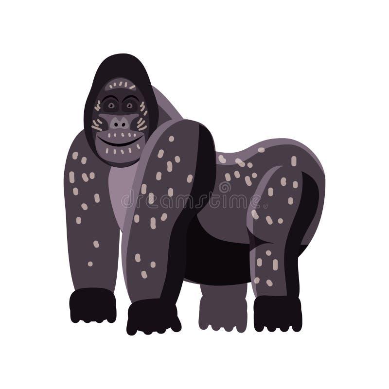 Gullig gorilla, djur, trend, tecknad filmstil, vektor, illustration som isoleras på vit bakgrund vektor illustrationer