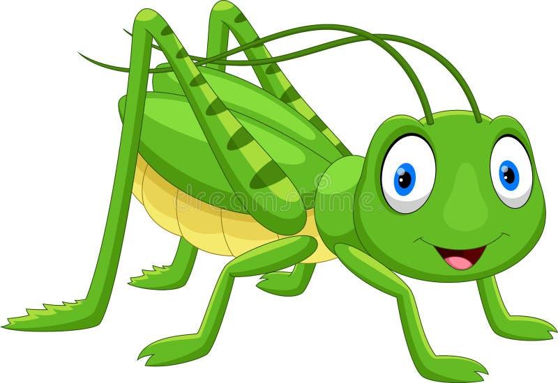 Gullig gräshoppatecknad film royaltyfri illustrationer