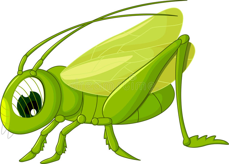 Gullig gräshoppatecknad film stock illustrationer
