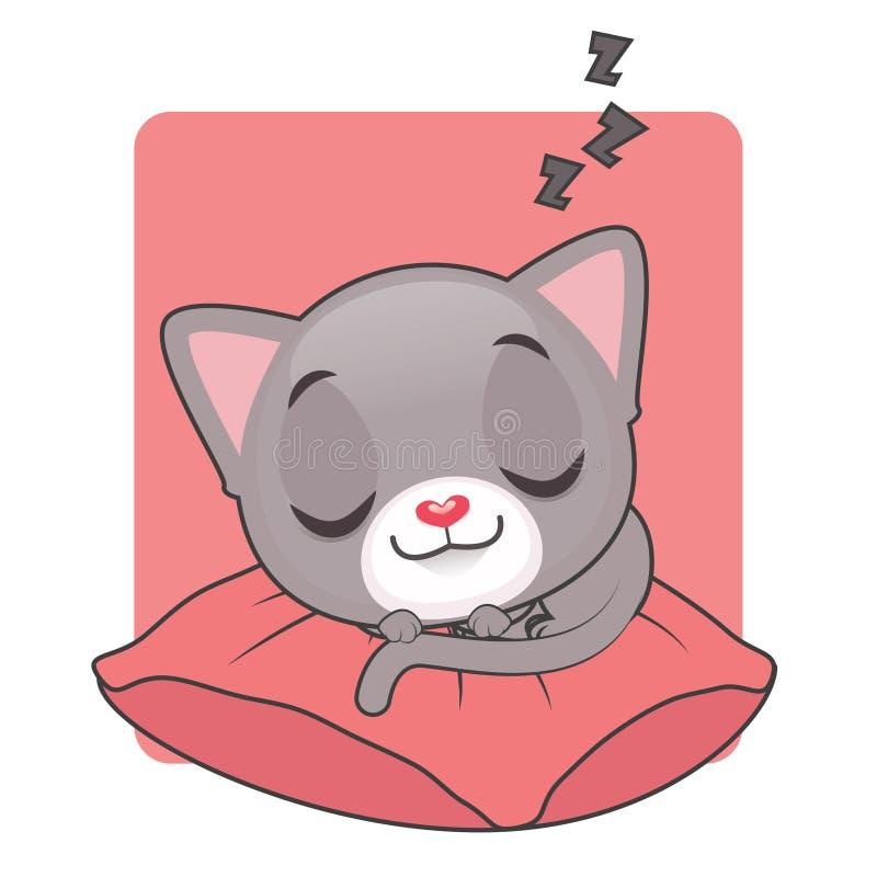Gullig grå katt som sover på en röd kudde vektor illustrationer