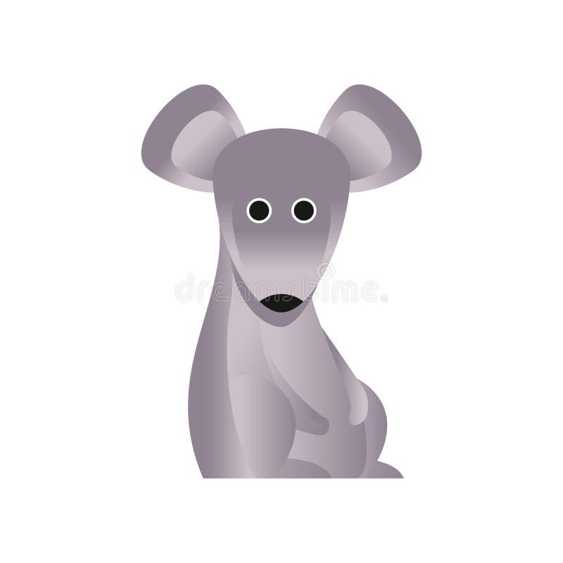 Gullig grå mus, stiliserad geometrisk djur låg poly designvektorillustration vektor illustrationer