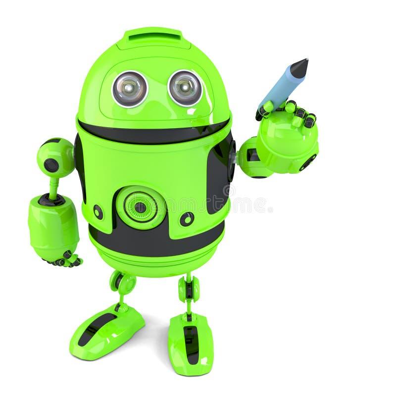 Gullig grön robothandstil med en penna Isolerat på vit Innehåller den snabba banan stock illustrationer