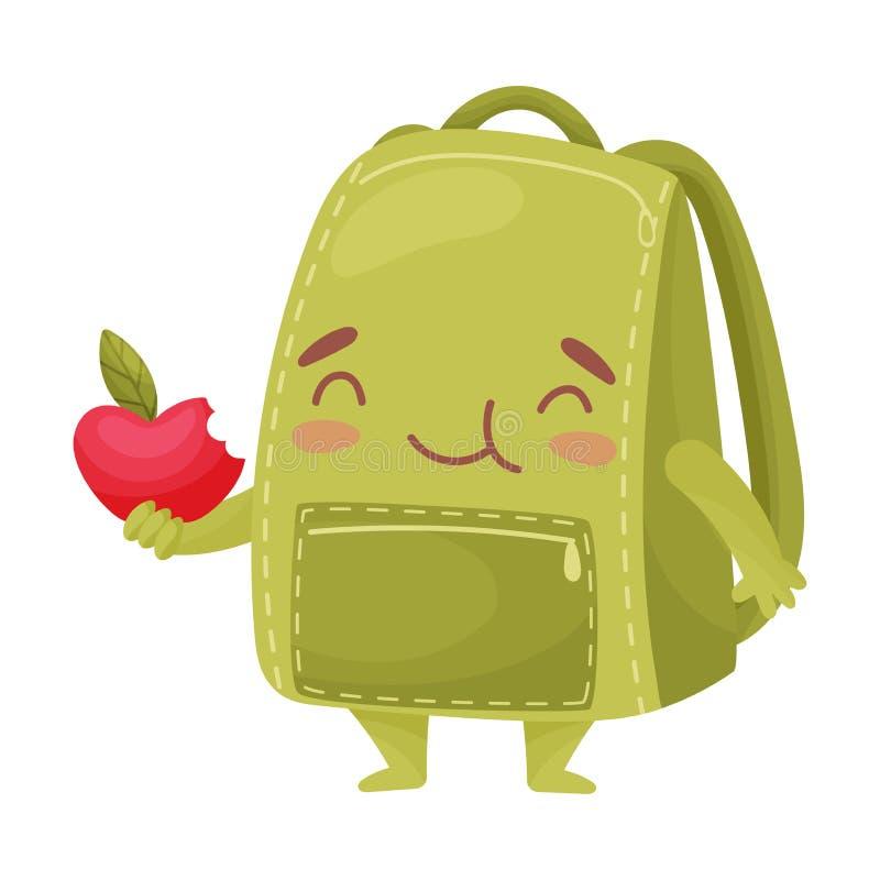 Gullig grön skolväska som rymmer ett äpple white f?r vektor f?r bakgrundsillustrationhaj stock illustrationer