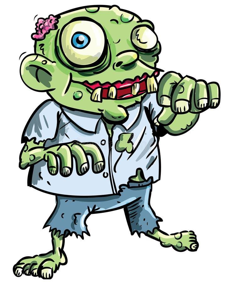 gullig grön zombie för tecknad film royaltyfri illustrationer