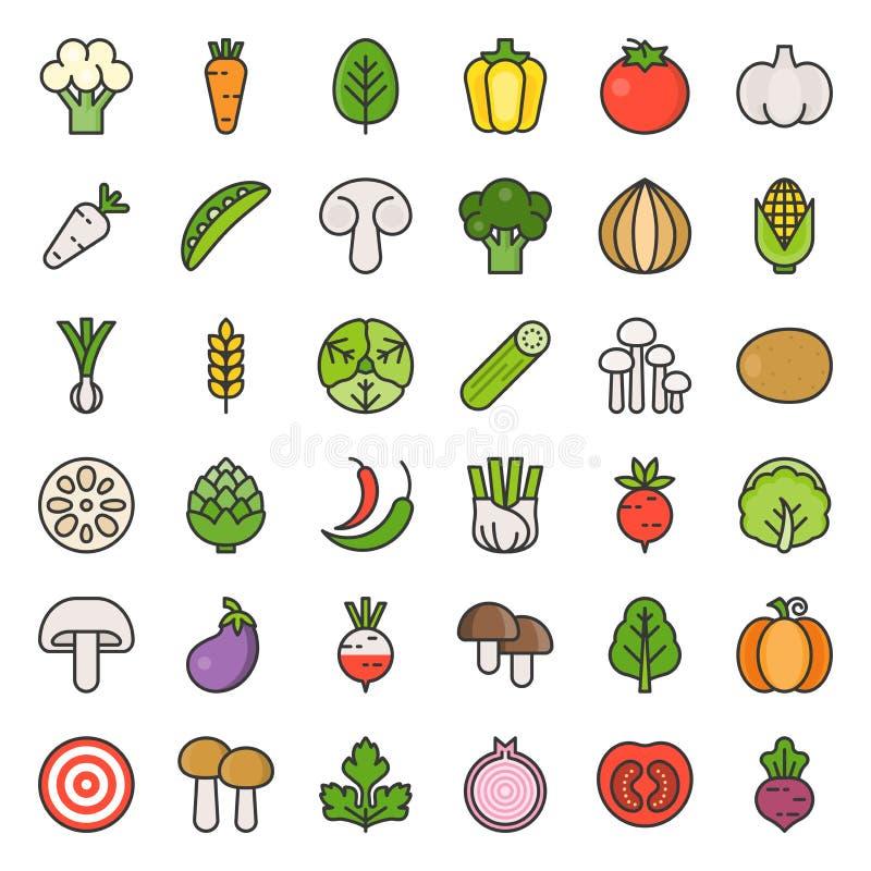 Gullig grönsak och champinjon, fylld översiktssymbol vektor illustrationer