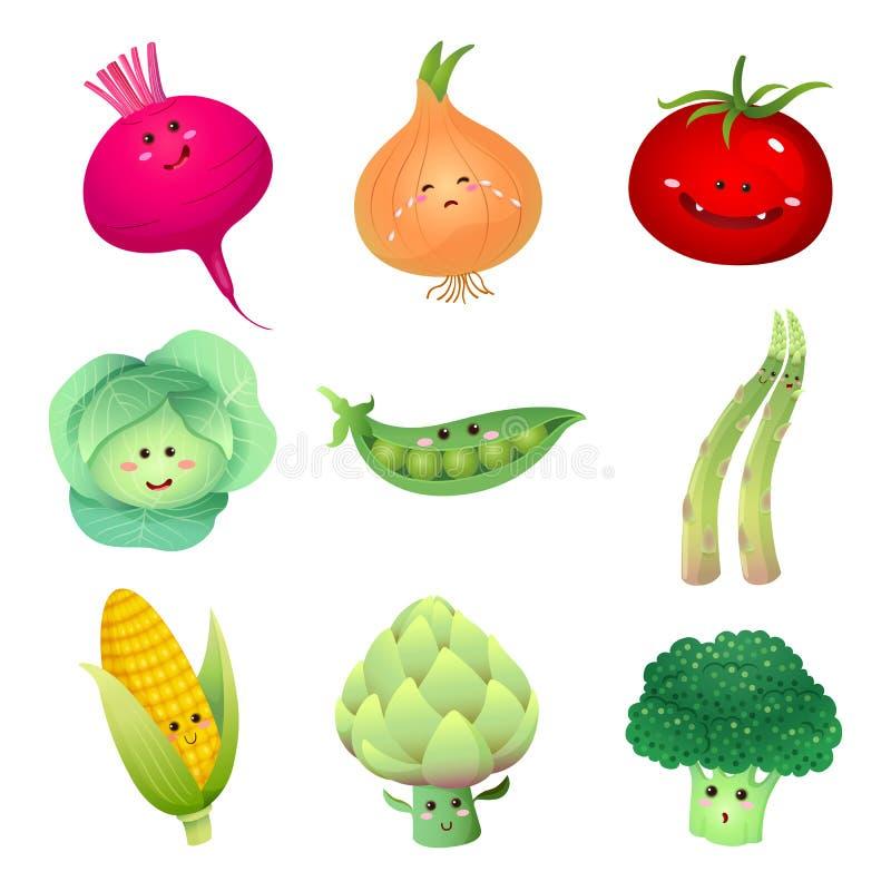 Gullig grönsaktecken-uppsättning 2 stock illustrationer