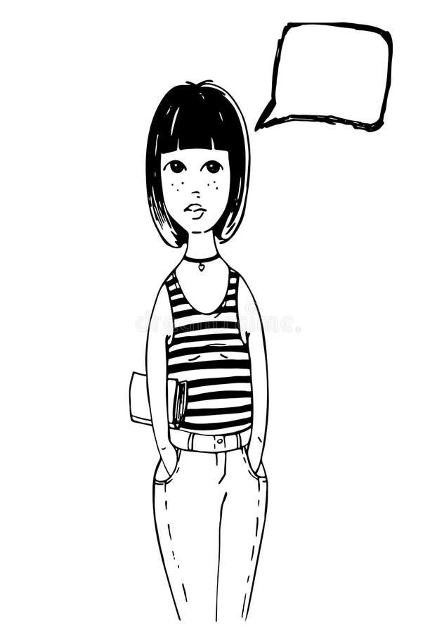 Gullig grafisk flicka, i jeans och t-skjorta ställningar med boken och att tänka om något stock illustrationer