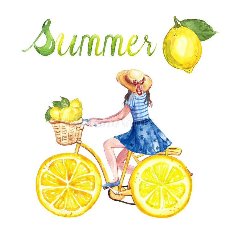 Gullig gul cykel för vattenfärg med citronhjul Illustration för sommarcykelritt med unga flickan och citroner på vit bakgrund vektor illustrationer