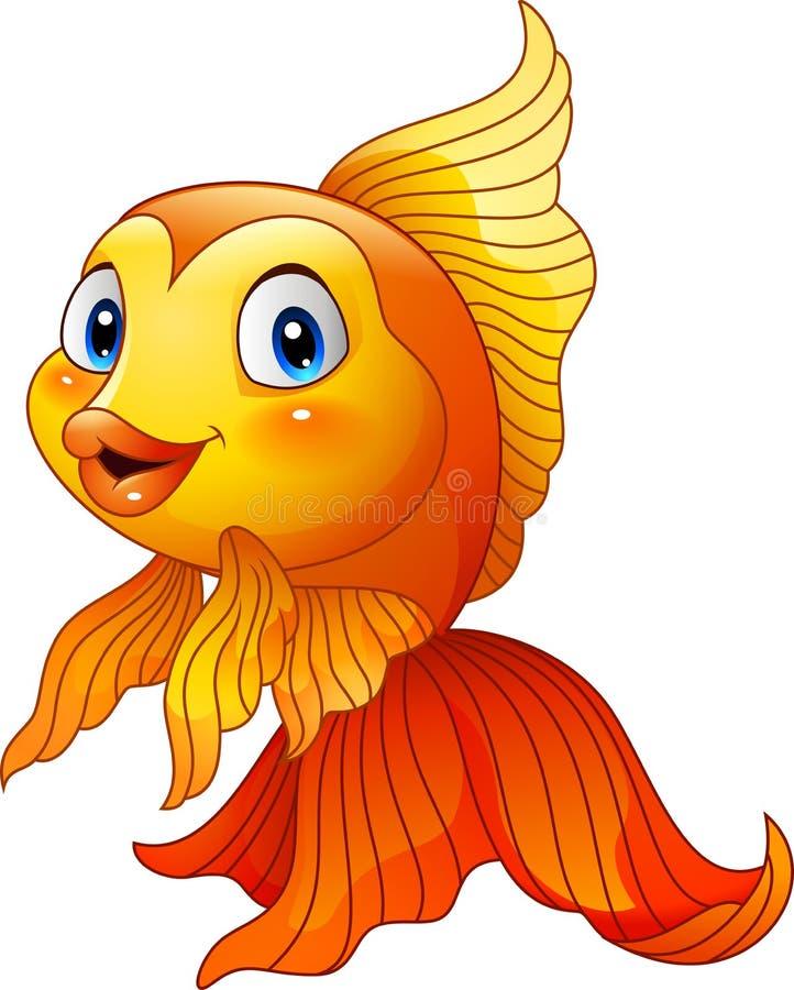 Gullig guldfisk för tecknad film stock illustrationer