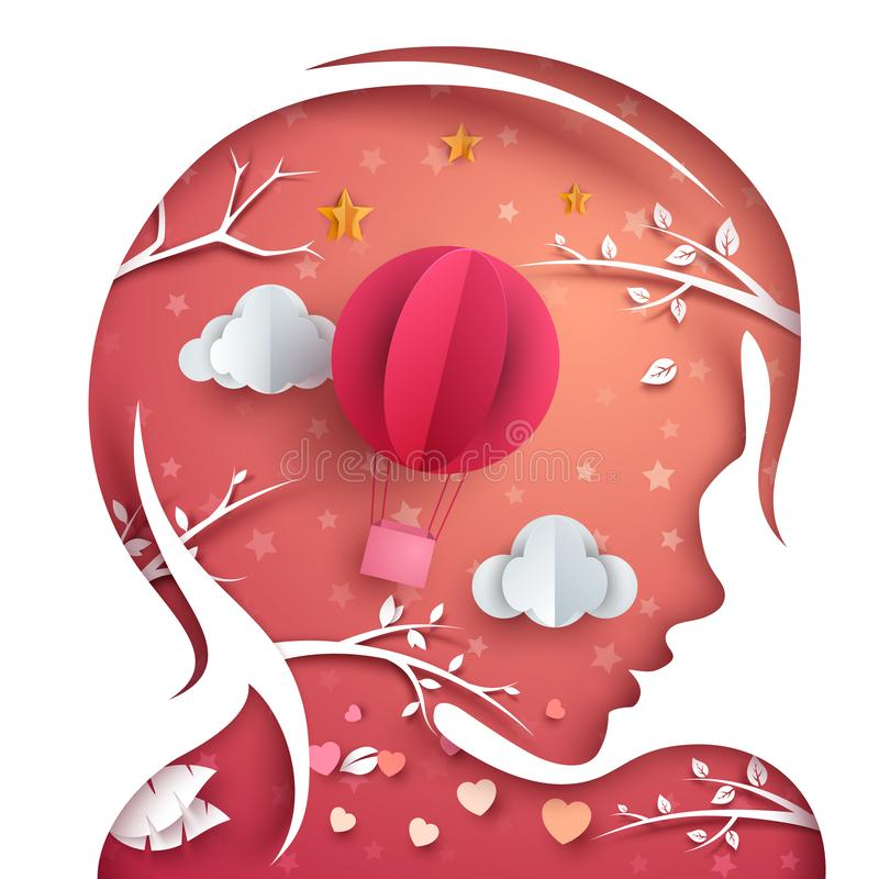 Gullig härlig flicka Luftballong, moln, frunchillustration stock illustrationer