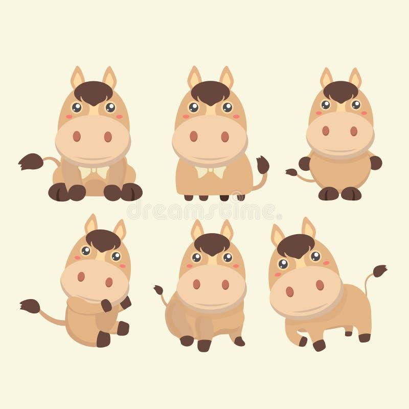 gullig häst stock illustrationer