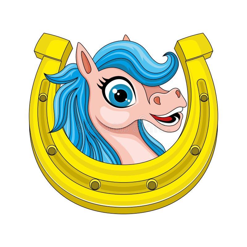 Gullig häst och hästsko stock illustrationer