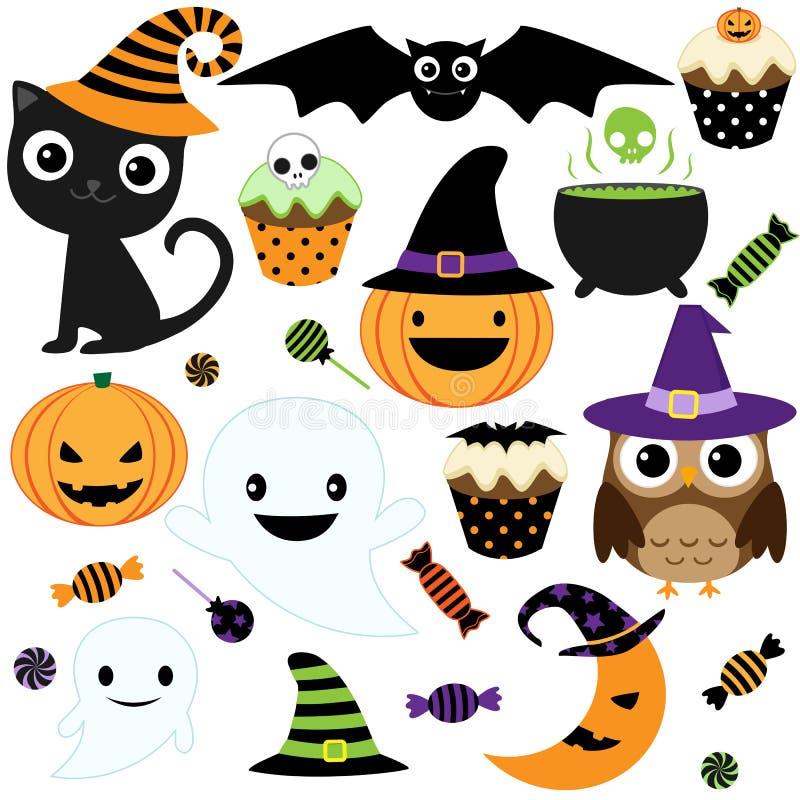 gullig halloween deltagare stock illustrationer