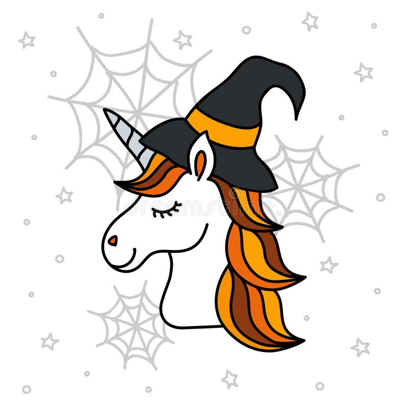 Gullig halloween enhörningstående med häxahatten, spiderwebs och stjärnor stock illustrationer