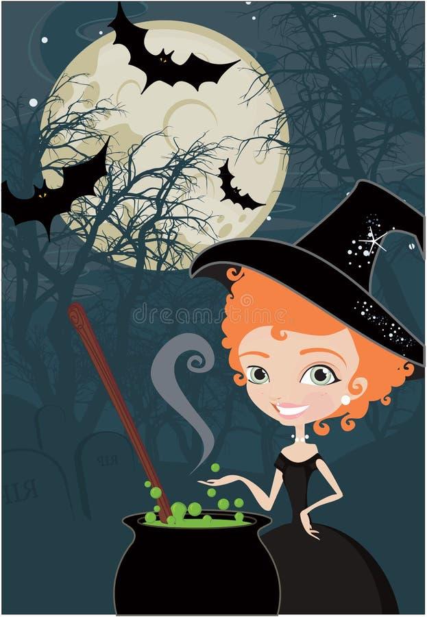 gullig halloween för bakgrund häxa royaltyfri illustrationer