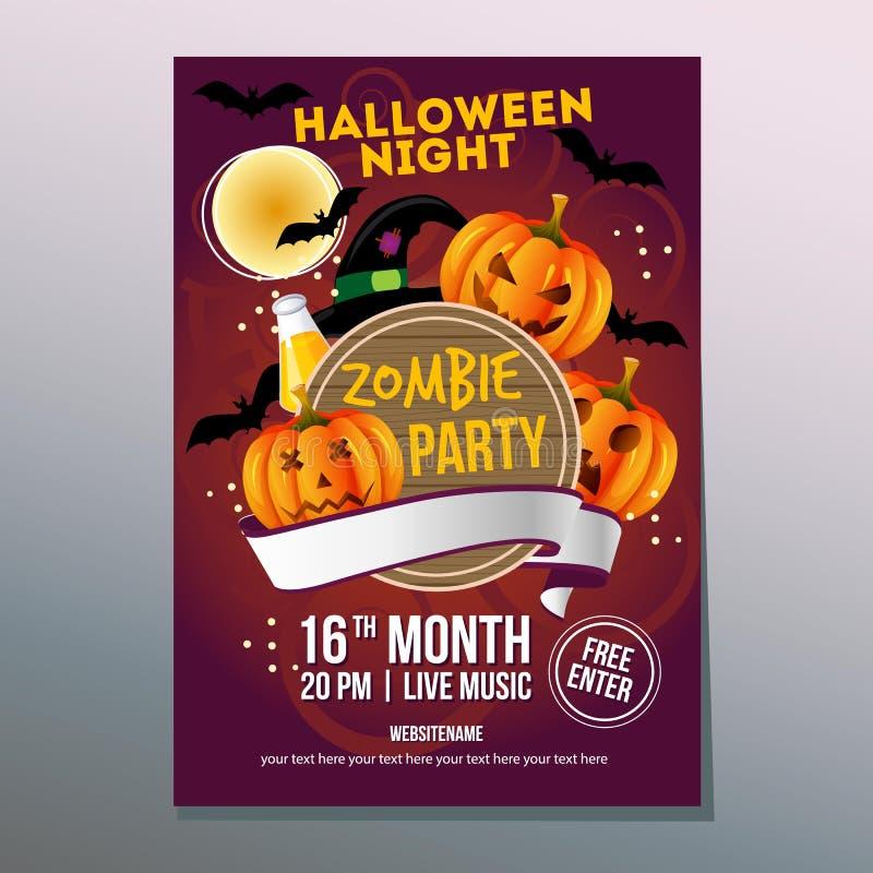 Gullig halloween nattaffisch med den roliga pumpaframsidan royaltyfri illustrationer
