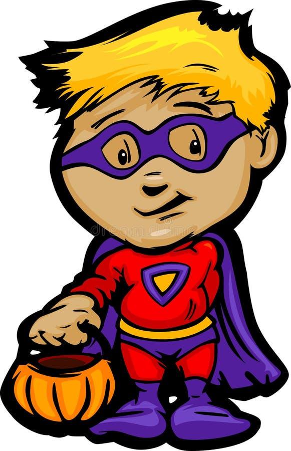 Gullig Halloween pojke i superhjältedräkttecknad film arkivbilder
