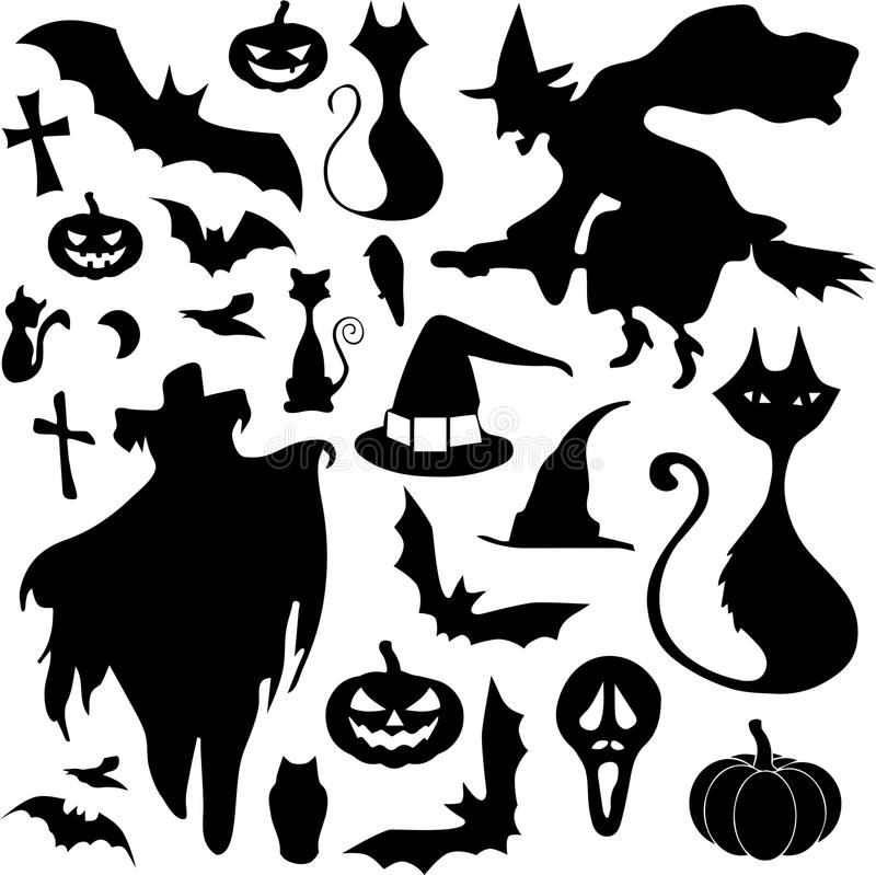 Gullig Halloween set royaltyfri bild