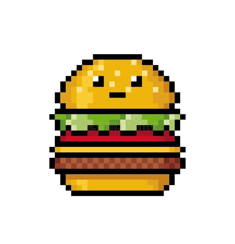 Gullig hamburgare i stilen av PIXELkonst royaltyfri fotografi