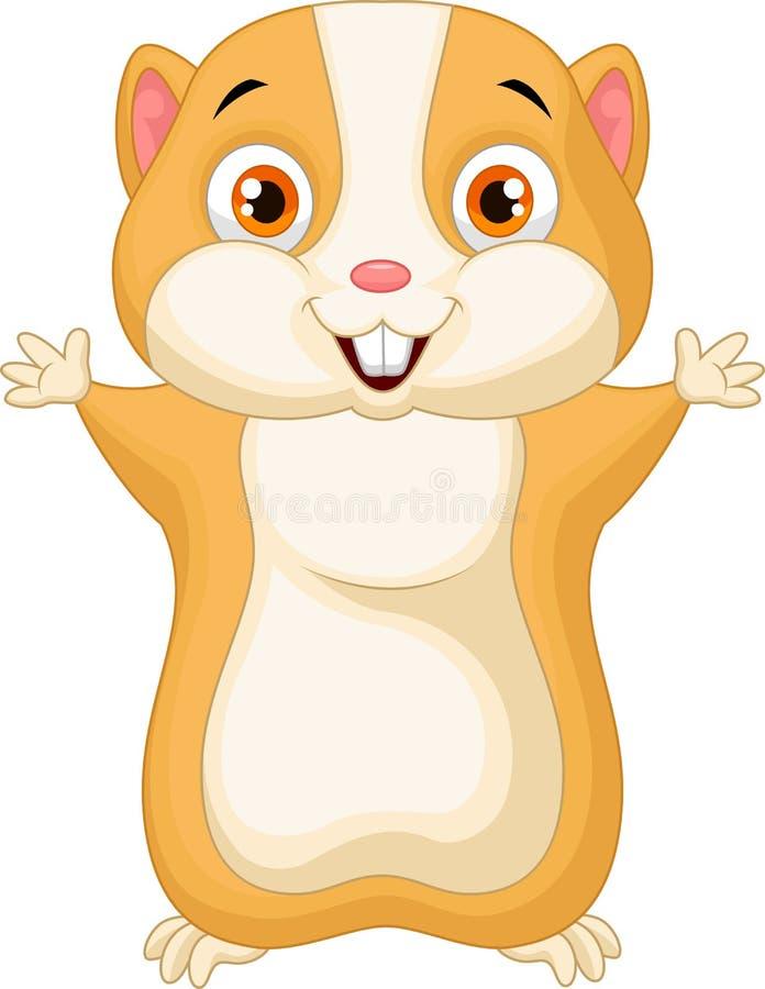 Gullig hamstertecknad film royaltyfri illustrationer