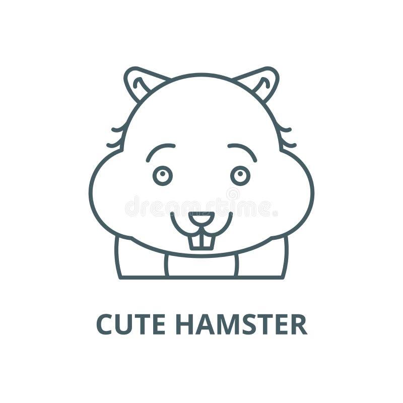 Gullig hamstervektorlinje symbol, linjärt begrepp, översiktstecken, symbol royaltyfri illustrationer