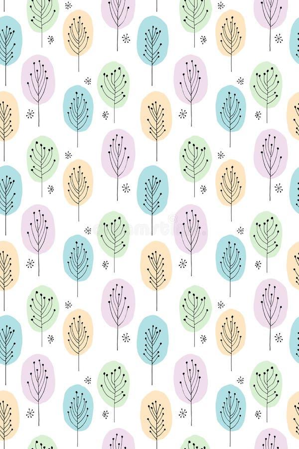 Gullig hand dragen abstrakt trädvektormodell Pastellfärger vit bakgrund Skogsmarktema stock illustrationer
