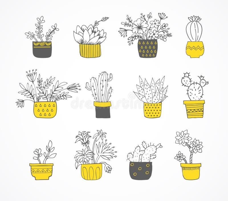 Gullig hand dragen kaktusuppsättning royaltyfri illustrationer