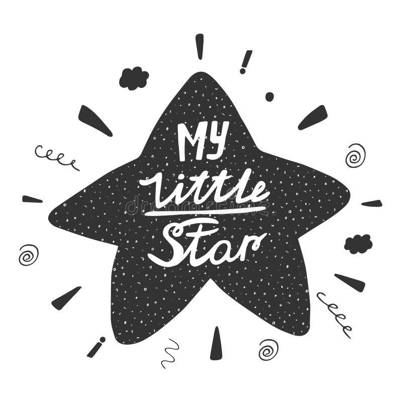 Gullig hand dragen klottervykort med stjärnan royaltyfri illustrationer