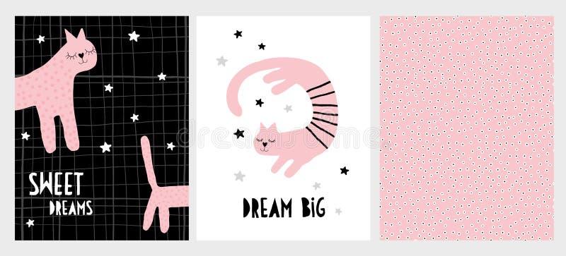 Gullig hand dragen rosa uppsättning för kattvektorillustration Abstrakt barnslig stildesign vektor illustrationer