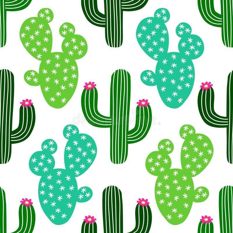 Gullig hand dragen sömlös modell för kaktus vektor illustrationer
