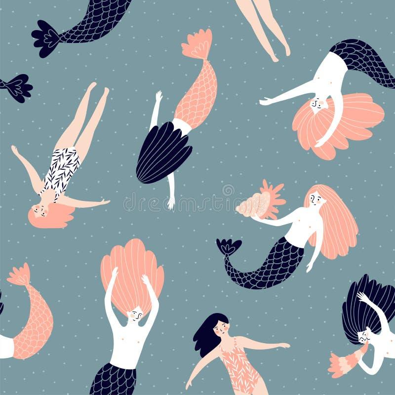 Gullig hand-dragen sömlös modell för vektor med sjöjungfruar och simningflickor Magisk ändlös design vektor illustrationer
