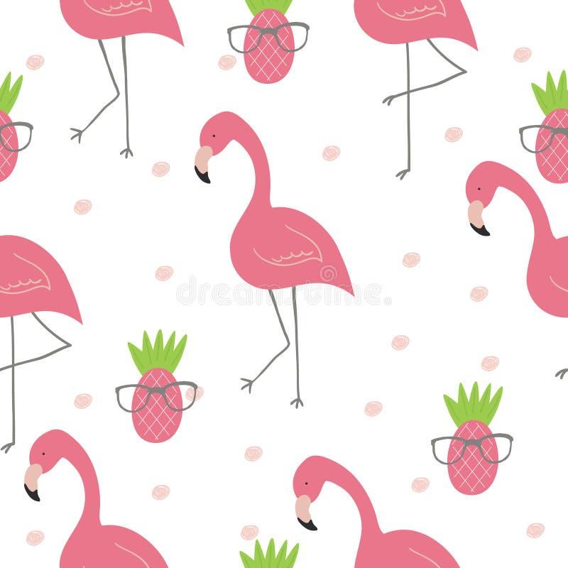 Gullig hand dragen sömlös modell med den rosa flamingo Jultomte i ett lock, i hörlurar med mikrofon, med en julklubba in till mun stock illustrationer