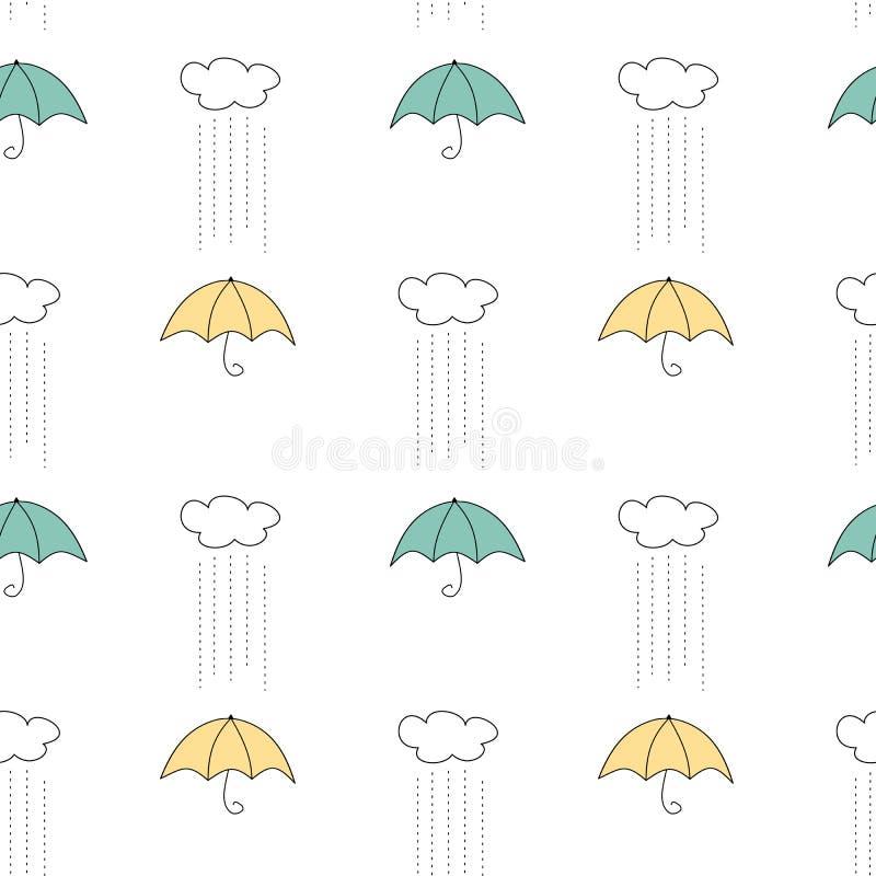 Gullig hand dragen sömlös modellbakgrundsillustration med guling- och blåttparaplyet, moln och regn royaltyfri illustrationer