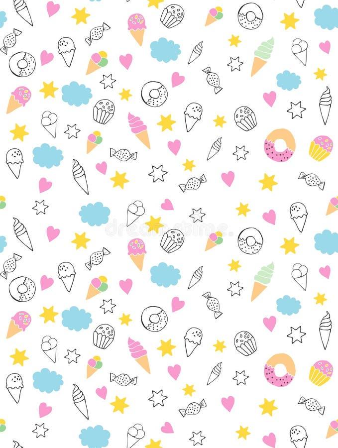 Gullig hand dragen sötsakVectorn modell Godisar glassar, muffin, Donuts Vit bakgrund Rosa hjärtor och gula stjärnor Infa vektor illustrationer