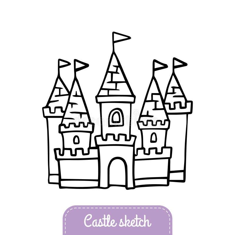 Gullig hand-dragen sagaslott för magiskt kungarike royaltyfri illustrationer