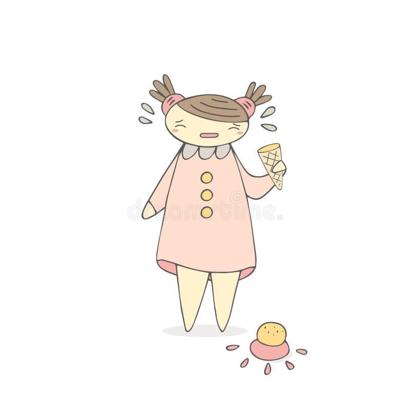 Gullig hand dragen skriande flicka för klotter med glass vektor illustrationer